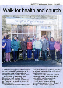 A new walking group sets off in Bampton from Bampton Physiotherapy with Fiona Farmer