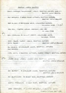 List of Bampton Traditional Morris Men c1981