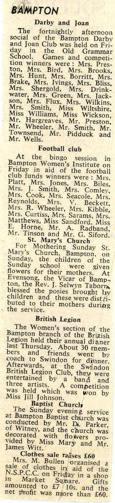 Reports for Darby & Joan; Football clubs; St Mary's; British Legion; Baptist Church; NSPCC