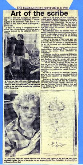 The Art of The Scribe - exhibition in the Gallery September 1988