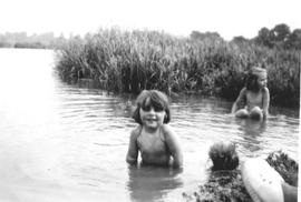 Janet and Jean Elward swimming at Sandy Beach on the Thames 1950