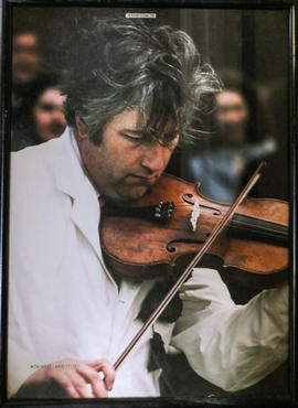Reg Hall playing the fiddle, 1970