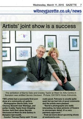 Photographer Barry Dale and potter Crabby Taylor held their show 'Secrets Disclosed' in the West Ox Arts Gallery 2015