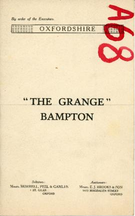 Sale brochure for The Grange, High St. Wednesday April 16th 1930