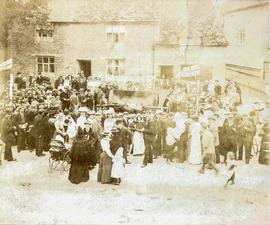 An ox roast in Corn Street, Witney, probably to celebrate Queen Victoria's diamond jubilee 1897