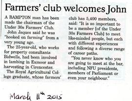 John Jaques from Bampton has been made chairman of the Under 30s Farmers' Club
