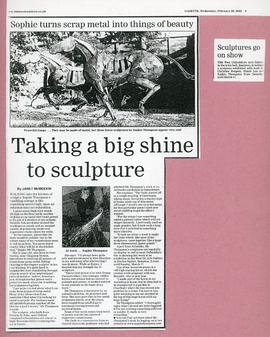 Sculpture on display by Christine Burgess, Simon Lea & Sophie Thompson Feb-Mar 2002