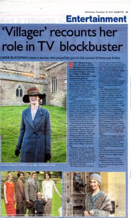 Several newspaper items about Downton Abbey in Bampton, 2015 and 2016