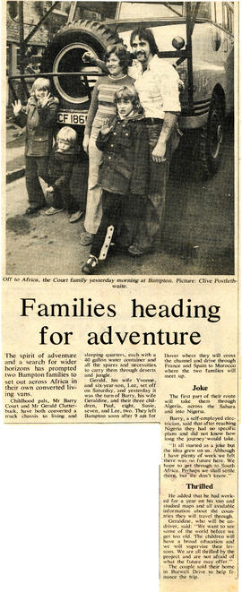 Barry & Geraldine Court & Gerald & Yvonne Clutterbuck & son Lee set off to cross Africa 1975