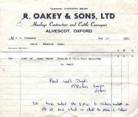 An invoice from R Oakey & Sons Ltd Haulage Contractors and Cattle Conveyors to Alec Townsend,...