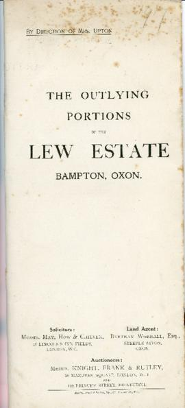 Sales brochure for the outlying portions of the Lew Estate Sept 27th 1917