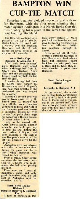 Bampton win football cup-tie match 1974-75 season