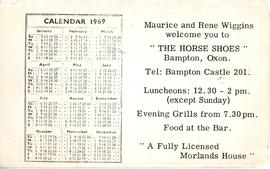 Advert & calendar for the Horse Shoe Inn 1969