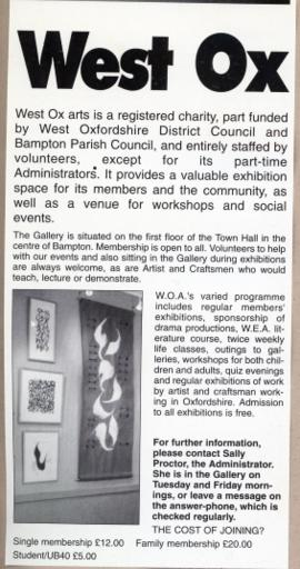 West Ox Arts, a registered charity based in the Gallery upstairs in Bampton Town Hall