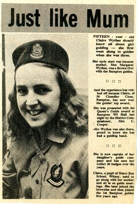 Claire Wythes wins Queen's Guide award in 1978