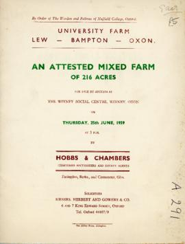 Sale of University Farm, Lew June 25th 1959