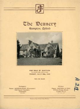 Sales brochure for The Deanery July 29th 1949