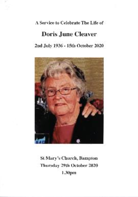 Doris June Cleaver.  Funeral service program
