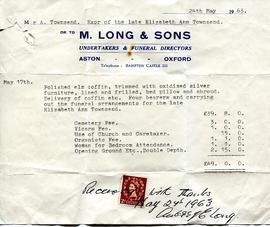 Invoice to Alec Townsend for burial of his wife Elizabeth Ann May 24th 1963