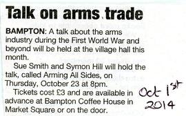 "A talk ""Arming All Sides"" in the Village Hall October 2014"