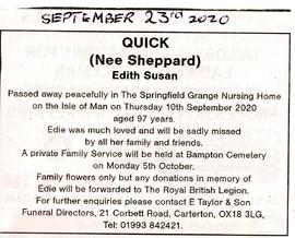Death of Edith Susan Quick nee Sheppard Sept 10th 2020