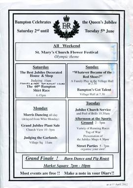 Program of Events to celebrate the Diamond Jubilee of Queen Elizabeth II June 2012