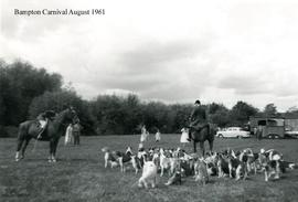 Horses and hounds at the Bampton Carnival in 1961 in Sandfords field