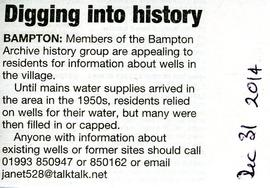 Bampton Community Archive seeks information about wells