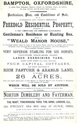 Sales brochure for Weald Manor 1880 and again 1886