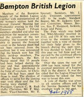 AGM of Bampton branch of the British Legion plus Women's section 1968