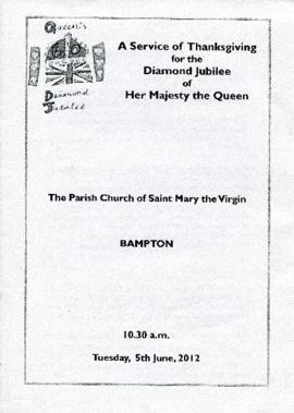 The program for the service of thanksgiving, held on Tuesday June 5th 2012, for the Diamond Jubil...