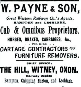 W Payne & Son, Great Western Railway Co Agents, Bampton and Lechlade.