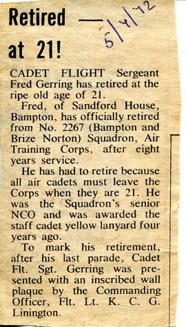 Cadet Flight Sergeant Frederick Gerring retired at age 21 on July 5th 1972