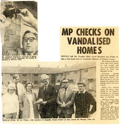Douglas Hurd MP looks at vandalised ministry of defence houses Friday Sept 7th 1984