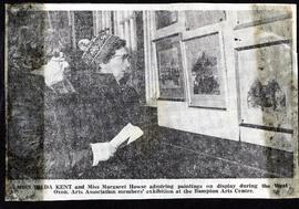 Hilda Kent & Margaret Howse look at exhibits a members' exhibition 1979