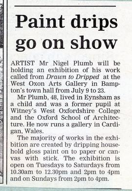 Artist Nigel Plumb exhibits at The Gallery in July 2000