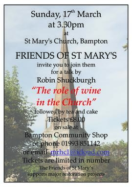 Post for a talk in St Mary's - The Role of Wine In The Church