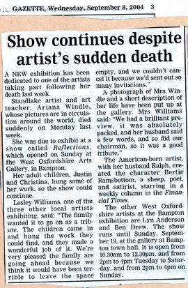 Ariana Windle dies but show goes on September 2004