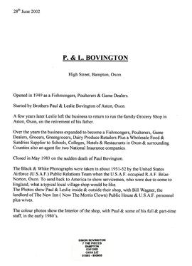 A History of P & L Bovington by Simon Bovington