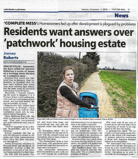 Roads & pathways at Oakwood Gate, built by Cala Homes are not finished